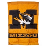 Mizzou Tiger Head Black & Gold Flag