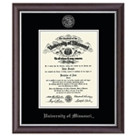 University of Missouri Official Seal Silver Embossed in Devonshire Diploma Frame