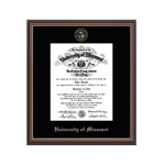 University of Missouri Official Seal Gold Embossed in Williamsburg PHD Diploma Frame
