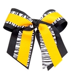 Mizzou Multi-Layer Triple Black White Zebra Print Hair Bow