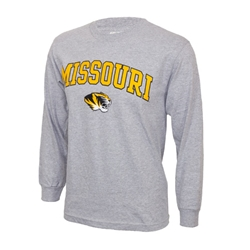 Mizzou Tiger Head Grey Crew Neck Shirt