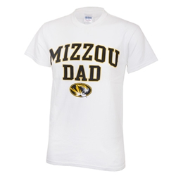 Mizzou Dad Oval Tiger Head White Crew Neck T-Shirt