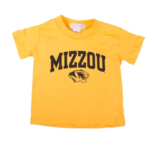 Mizzou Toddler Tiger Head Gold Crew Neck T-Shirt