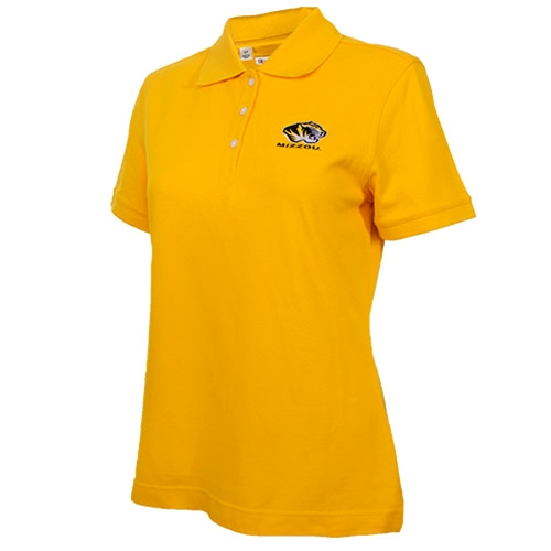 Mizzou Cutter & Buck Women's Tiger Head Gold Polo