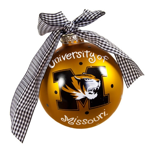 University of Missouri Tiger Head Polka Dot Gold Glass Ornament