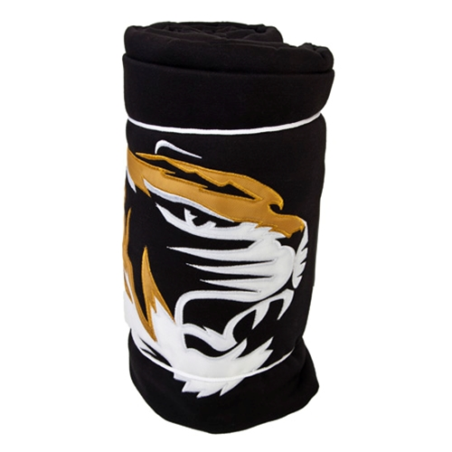 Mizzou Tiger Head Black Sweatshirt Blanket