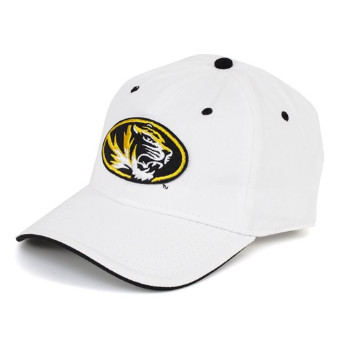 Mizzou Oval Tiger Head White Adjustable Hat