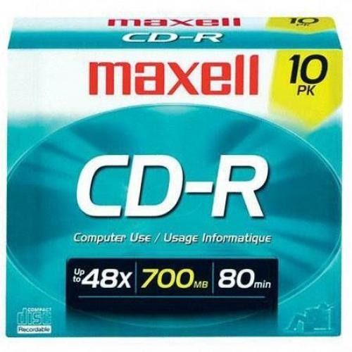 Maxell 700MB 48x CD-R Recordable Disc with Slim Jewel Case Pack of 10