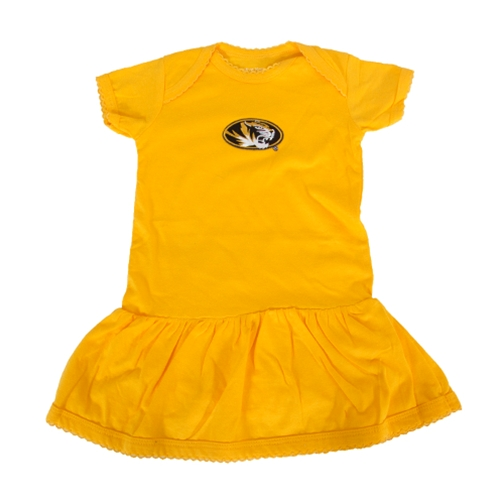 Mizzou Infant Oval Tiger Head Gold Onesie Dress
