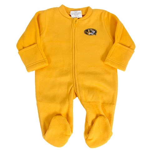 Mizzou Infant Oval Tiger Head Fleece Gold Footed Romper