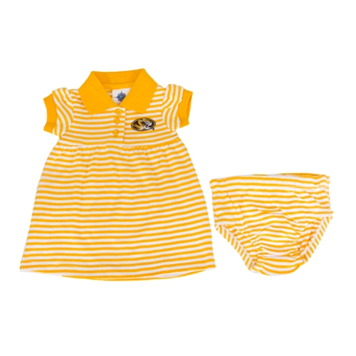 Mizzou Toddler Oval Tiger Head Striped Gold 2-Piece Dress & Bloomer Set