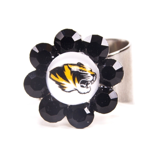 Mizzou Black Crystal Flower Ring