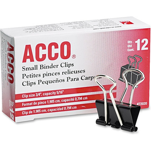 Acco Black Small Binder Clips - 12 Pack