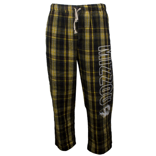 Mizzou Official Plaid Open Bottom Sweatpants