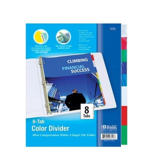 3-Ring Binder Dividers with 8 Insertable Color Tabs