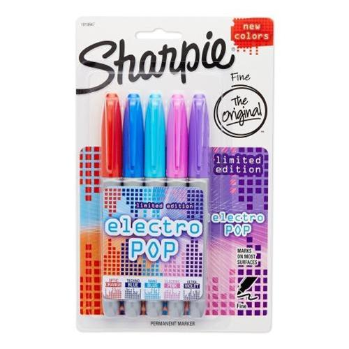 5 Pack Assorted Electro Pop Colors Sharpie Fine Point Permanent Markers