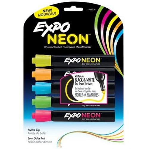 5 Pack Assorted Neon Colors Expo Dry Erase Markers