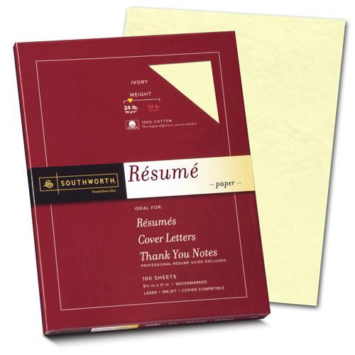100% Cotton 24lb Ivory resume Paper (100 Sheets)