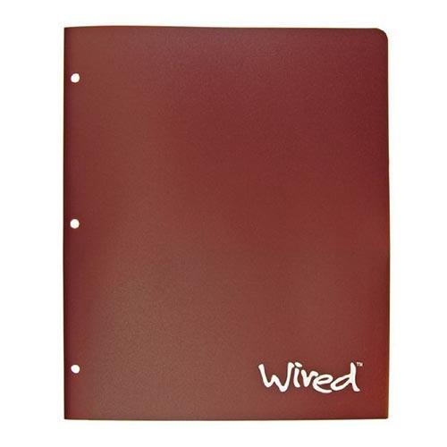 Assorted Colors Top Flight Wired 2-Pocket Poly Portfolio