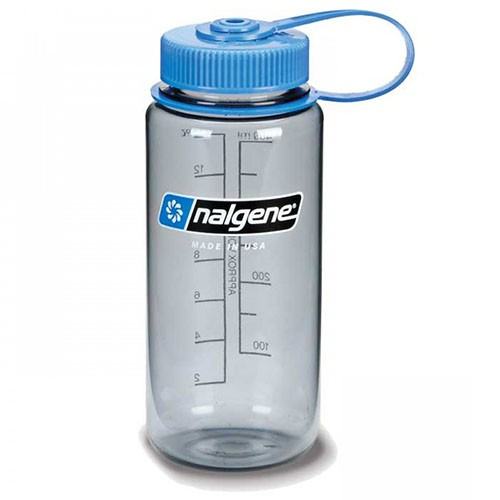 Nalgene 16oz Gray with Blue Lid Water Bottle