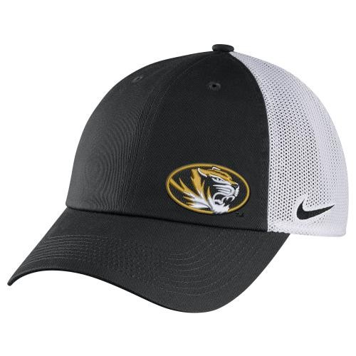 Mizzou Juniors' Nike&reg Oval Tiger Head Black & White Adjustable Hat