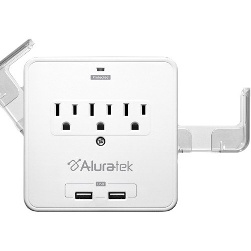 Dual USB Triple Power Outlet w/ Holding Trays Wall Plate