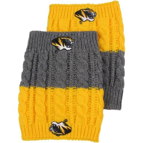 Mizzou Tiger Head Gold & Grey Reversible Boot Cuffs