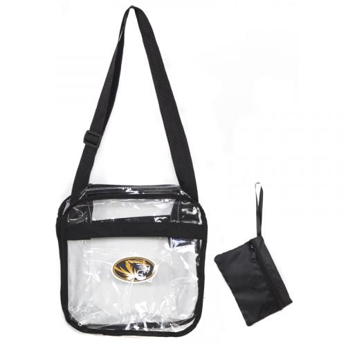 Mizzou SEC Compliant Clear Crossbody Tote Bag with Removable Pouch
