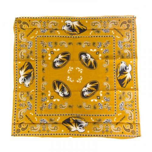 Mizzou Oval Tiger Head Black & Gold Bandana