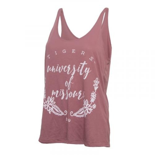 Mizzou Bella + Canvas Juniors' Floral Pink Tank Top