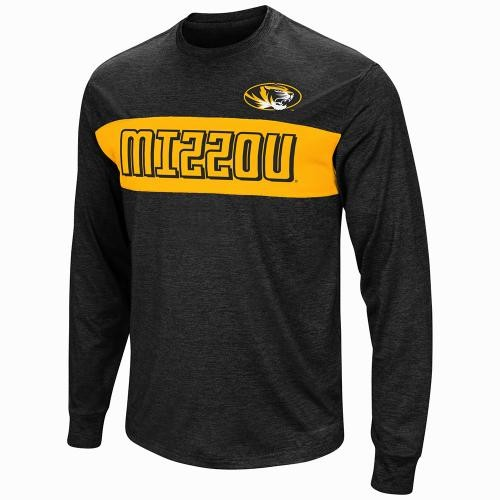 Mizzou Oval Tiger Head Black & Gold Athletic Shirt