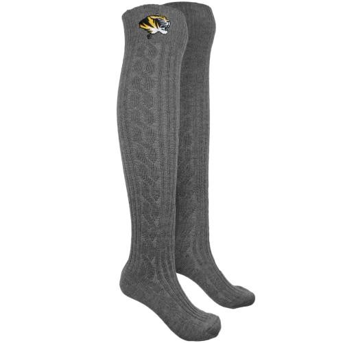 Mizzou Tiger Head Knee Length Cable Knit Socks