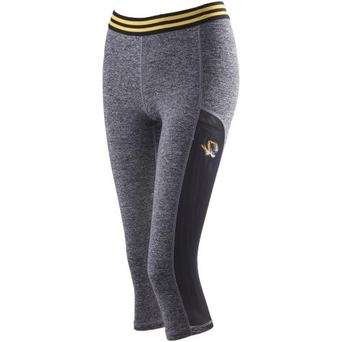 Mizzou Juniors' Mesh Panel Sides Grey Athletic Capris