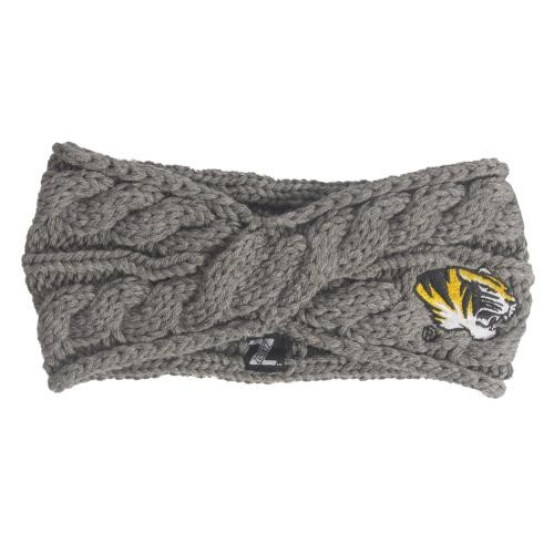 Mizzou Tiger Head Charcoal Cable Knit Headband