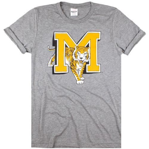 Mizzou Charlie Hustle Co. Vintage Grey Crew Neck T-Shirt