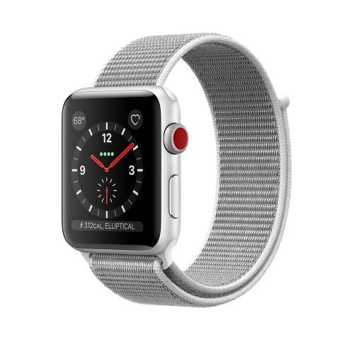 Apple Watch Series 3 GPS + Cellular, 38mm Silver Aluminum Case with Seashell Sport Loop
