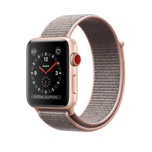 Apple Watch Series 3 GPS + Cellular, 42mm Gold Aluminum Case with Pink Sand Sport Loop