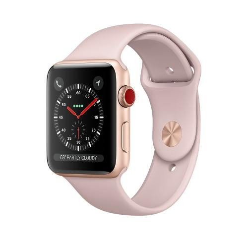Apple Watch Series 3 GPS + Cellular, 42mm Gold Aluminum Case with Pink Sand Sport Band