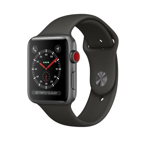 Apple Watch Series 3 GPS + Cellular, 42mm Space Gray Aluminum Case with Gray Sport Band