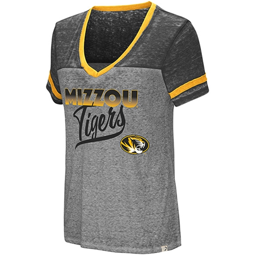 Mizzou Tigers Juniors' Grey V-Neck T-Shirt