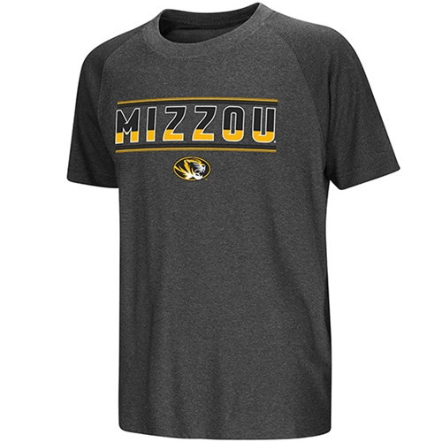Mizzou Kids' Oval Tiger Head Charcoal Crew Neck T-Shirt