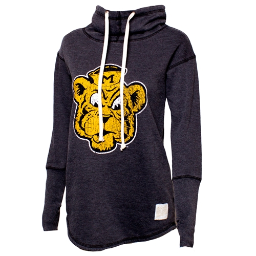Mizzou Juniors' Vintage Tiger Head Black Funnel Neck Sweatshirt