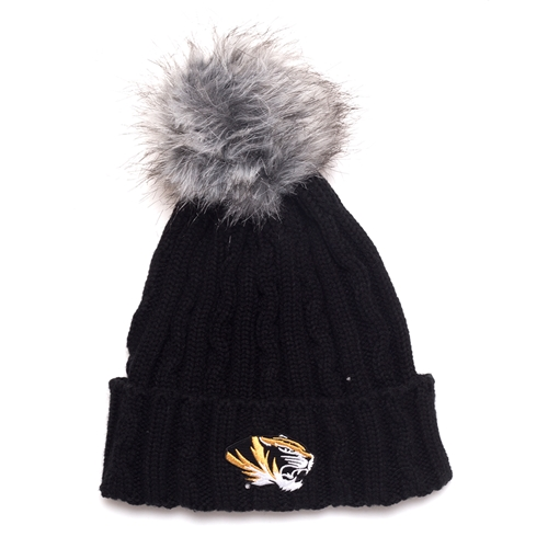 Mizzou Tiger Head Black Cuffed Beanie with Faux Fur Pom