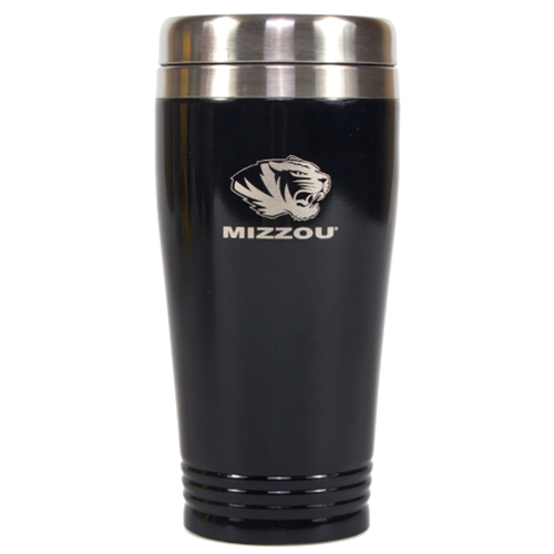 Mizzou Tiger Head Black Travel Mug