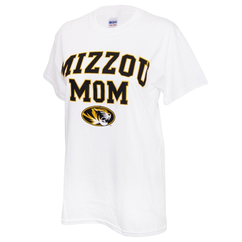 Mizzou Mom Women's Oval Tiger Head White Crew Neck T-Shirt