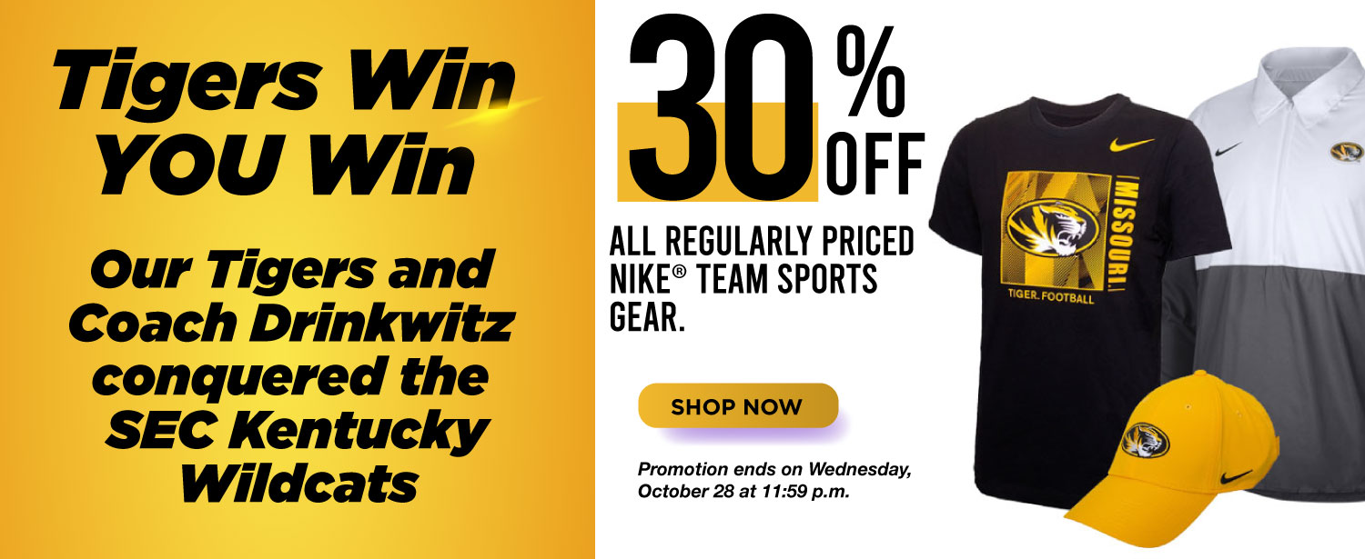 Tigers win you win, 30% off regularly priced Nike