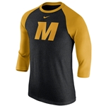 Mizzou Nike reg Black   Gold 3 4 Sleeve Shirt 9b5c6c9fb