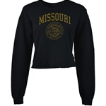 Missouri Juniors' Official Seal Black Cropped Sweatshirt