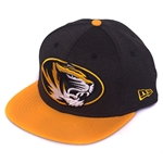 Mizzou Oval Tiger Head Black with Gold Bill Snapback