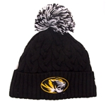 Mizzou Women's Sparkling Black Cuffed Beanie with Pom